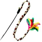 CAT TEASER - LEOPARD TAIL WITH FEATHER & BELL BW/AT3513