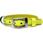 DOG COLLAR (DOUBLE WEBBING)(LIME)(15mm*30-45cm) BW/NYCR15PBLM