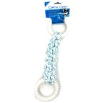 DENTAL BRAIDED ROPE TUG WITH 2 NYLON RING (BLUE) IDS0WB15431B