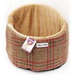 PET BED DOME - CHECKED (BROWN) YF100368BN