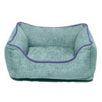CHENILLE LOUNGER BED (GREEN / BLUE TRIM) (EXTRA SMALL) DGS0LBH196501