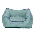 CHENILLE LOUNGER BED (GREEN / BLUE TRIM) (SMALL) DGS0LBH226501