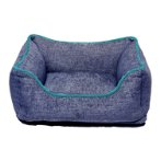CHENILLE LOUNGER BED (BLUE / GREEN TRIM) (LARGE) DGS0LBH290165
