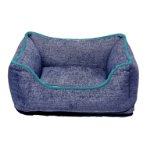 CHENILLE LOUNGER BED (BLUE / GREEN TRIM) (SMALL) DGS0LBH220165