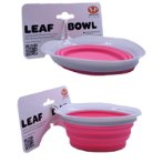 SILICON COLLAPSIBLE LEAF BOWL (GREY / PINK) (250ml) UP0DL0101RO