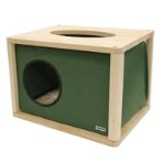 WOODEN CAT HOUSE WITH TUNNEL (GREEN) (50x38x35cm) SUN0KFW1061